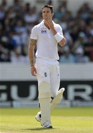 England's Pietersen looks on during his innings of 149 during the second cricket test match against South Africa at Headingley cricket ground in Leeds