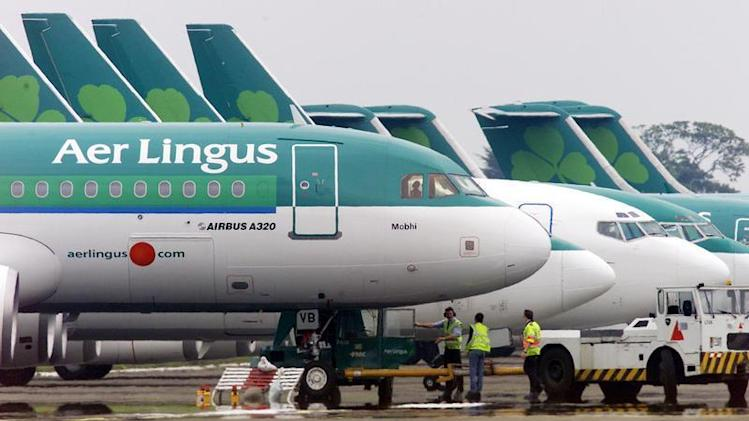 File photograph shows ground crew parking an Aer Lingus aircraft at Dublin Airport in the Republic of Ireland