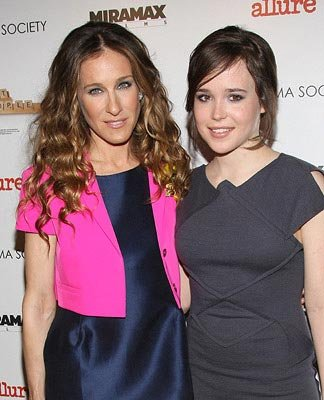 Sarah Jessica Parker and Ellen Page at the New York City premiere of Miramax Films' Smart People  03/31/2008 Photo: Jason Kempin, WireImage.com