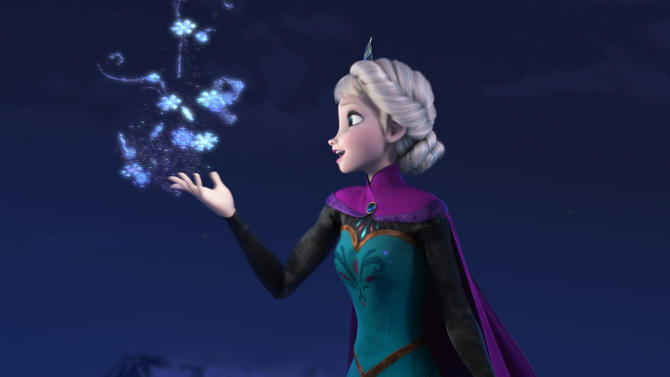 """This image released by Disney shows Elsa the Snow Queen, voiced by Idina Menzel, in a scene from the animated feature """"Frozen."""" (AP Photo/Disney)"""