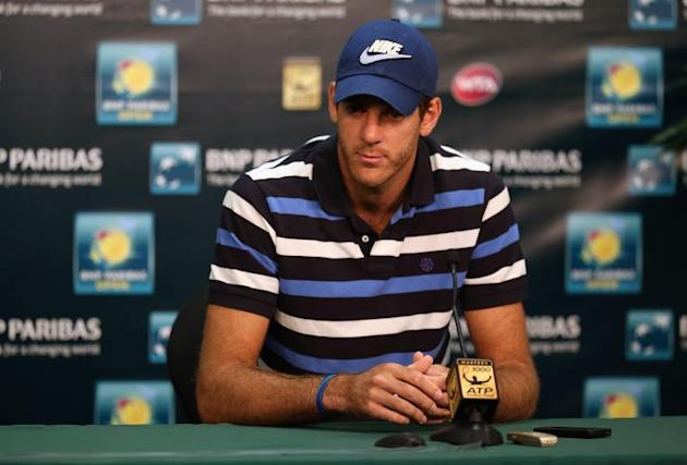 Juan Del Potro of Argentina addresses the media after pulling out of the BNP Paribas Open at Indian Wells Tennis Garden on March 9, 2014 in Indian Wells, California