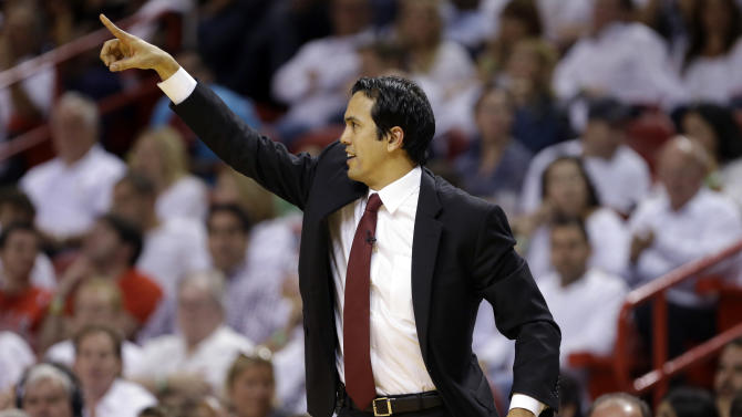 Miami Heat coach Erik Spoelstra gestures during the second half of Game 5 of an NBA basketball Eastern Conference semifinal against the Chicago Bulls, Wednesday, May 15, 2013, in Miami. (AP Photo/Wilfredo Lee)