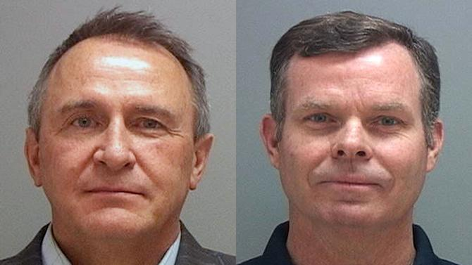 This combination of Tuesday, July 15, 2014 photos provided by the Salt Lake County Sheriff shows former Utah attorneys general Mark Shurtleff, left, and John Swallow who were taken into custody Tuesday as part of a bribery investigation. The arrests come just over a year after two county attorneys began scrutinizing Shurtleff and Swallow's relationships with several businessmen in trouble with regulators. (AP Photo/Salt Lake County Sheriff)