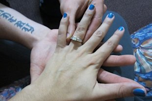 The happy couple's wedding rings.