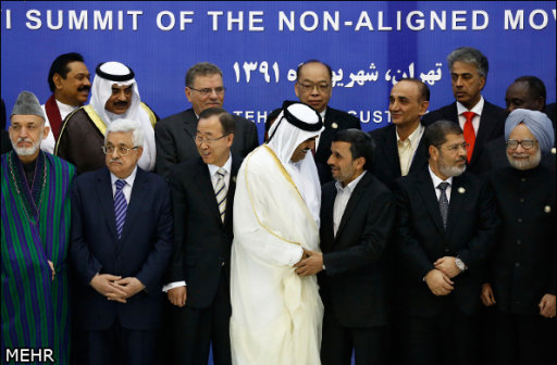 Leaders prepare to take a group photo during the 16th summit of the Non-Aligned Movement in Tehran