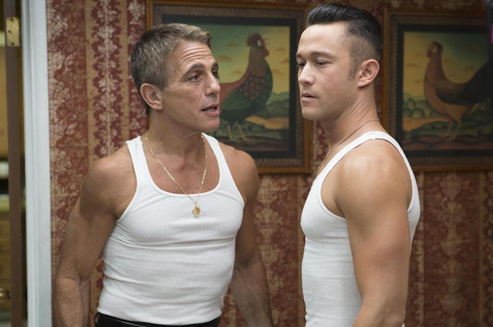 "This film image released by Relativity Media shows Tony Danza, left, and Joseph Gordon-Levitt in a scene from ""Don Jon"". (AP Photo/Relativity Media, Daniel McFadden)"