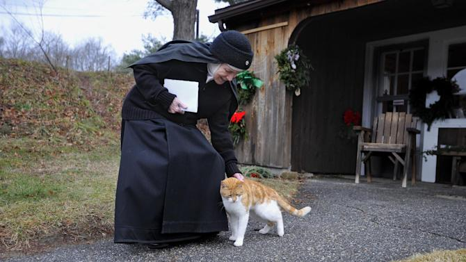 In this Thursday, Dec. 22, 2011 photo, Mother Dolores Hart pets a cat at the Abbey of Regina Laudis monastery in Bethlehem, Conn. Mother Dolores, a cloistered nun whose luminous blue eyes entranced Elvis Presley in his first on-screen movie kiss, is praying for a Christmas miracle. She walked away from Hollywood stardom in 1963 to become a nun in rural Bethlehem. Now she finds herself back in the spotlight, but this time it's all about serving the King of Kings, not smooching the King of Rock and Roll. The former brass factory that houses Mother Dolores and about 40 other nuns cloistered at the Abbey of Regina Laudis needs millions of dollars in renovations to meet fire and safety codes, add an elevator and make handicap accessibility upgrades. (AP Photo/Jessica Hill)