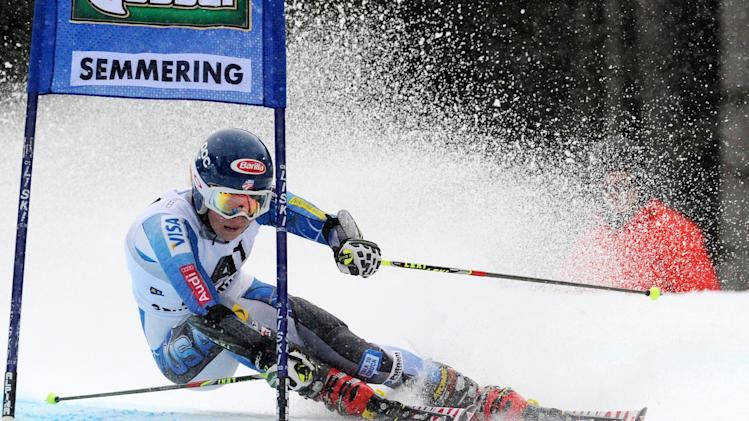 Eighth placed Mikaela Shiffrin, of the U.S., competes during an alpine ski, women's World Cup giant slalom in Semmering, Austria, Friday, Dec. 28, 2012. (AP Photo/Pier Marco Tacca)