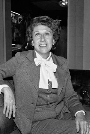 """FILE - Actress Jean Stapleton speaks during an interview in Washington on Wednesday, March 3, 1977, saying she will increase speaking out to the """"Edith Bunkers"""" of the land to try and muster support for the Equal Rights Amendment. Stapleton, who played Edith Bunker in the groundbreaking 1970s TV comedy """"All in the Family,"""" has died. She was 90. John Putch said Saturday, June 1, 2013 that his mother died Friday, May 31, 2013 of natural causes at her New York City home surrounded by friends and family. (AP Photo/Jeff Taylor)"""