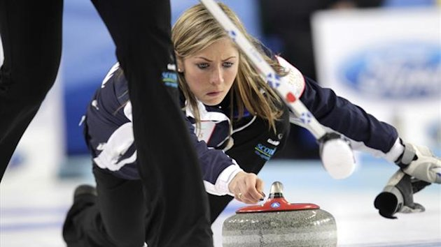 Scotland's skip Eve Muirhead in Riga (Reuters)