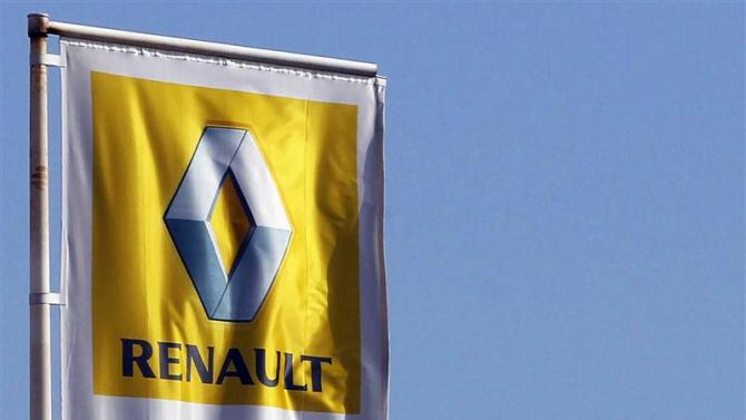 The Renault automaker company logo is displayed outside a car dealership in Bordeaux