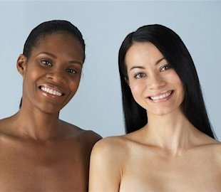 Two women with bare shoulders
