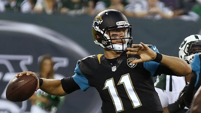 Jacksonville Jaguars quarterback Blaine Gabbert throws during the first half of an NFL preseason football game against the New York Jets, Saturday, Aug. 17, 2013, in East Rutherford, N.J. (AP Photo/John Minchillo)