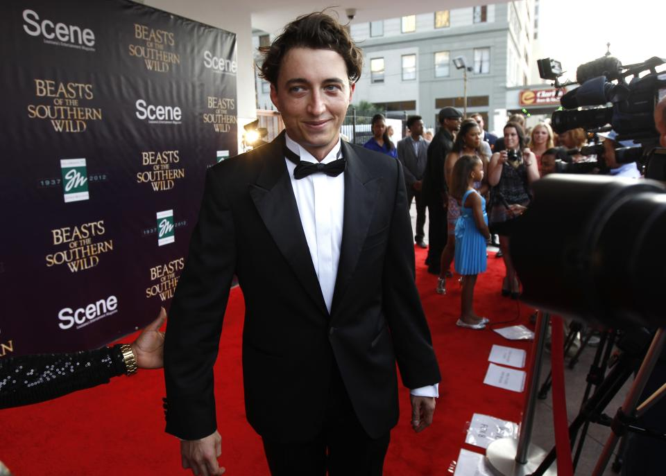 "Benh Zeitlin, director and co-writer of the movie ""Beasts Of The Southern Wild,""  arrives at the premiere at the Joy Theater in New Orleans, Monday, June 25, 2012. (AP Photo/Gerald Herbert)"