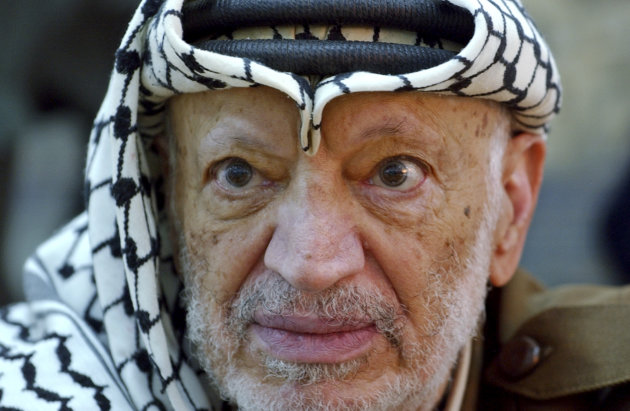 In this Saturday, Oct. 2, 2004 file photo, Palestinian leader Yasser Arafat pauses during an emergency cabinet session, at his compound, in the West Bank town of Ramallah.  Palestinian official says t