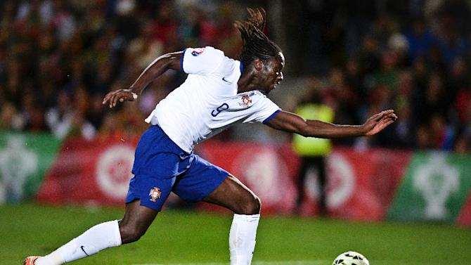 Portugal's forward Eder kicks the ball during the UEFA EURO 2016 Qualifier, Group I football match Portugal vs Armenia at the Algarve Stadium in Faro on November 14, 2014