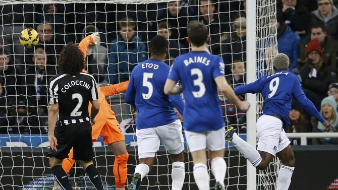 Everton's Arouna Kone celebrates after scoring a goal during their English Premier League soccer match against Newcastle United at St James' Park in Newcastle