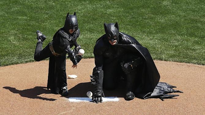 Batkid back in San Francisco, throws first pitch