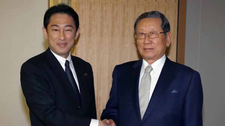 South Korea's new Ambassador to Japan Yoo meets with Japan's Foreign Minister Kishida at the Foreign Ministry in Tokyo