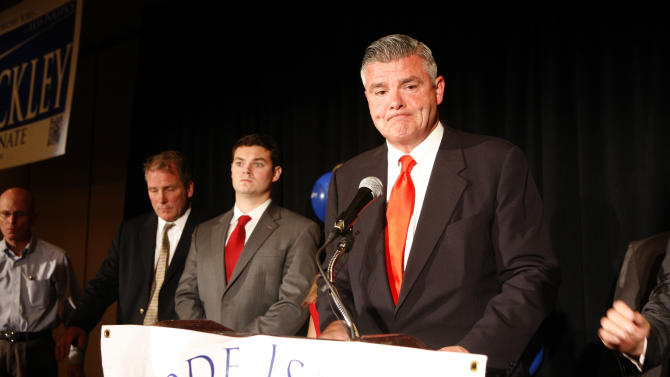 Republican Congressional candidate Brendan Doherty frowns as he announces his concession in Providence, R.I. on Tuesday, Nov. 6, 2012..  Doherty challenged incumbent David Cicilline who came under attack as much for his record as Mayor of Providence as for his one term in Congress. (AP Photo/Joe Giblin)