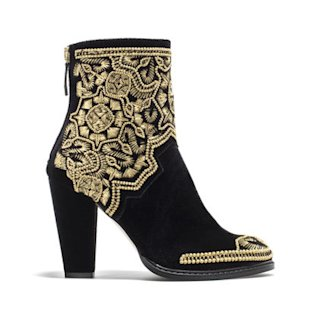Gold Embroidered High Heel Ankle Boot by Zara