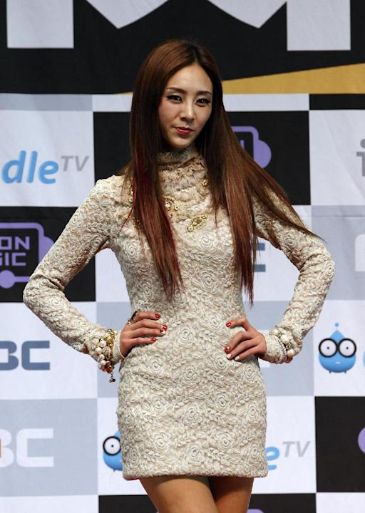 South Korean girl singer G.NA poses for the media for the 2011 MBC Korean Music Festival in Gwangmyeong, south of Seoul, South Korea, Saturday, Dec. 31, 2011.  (AP Photo/ Lee Jin-man)