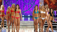 Contestants compete in the swimsuit portion of the Miss America 2013 pageant on Saturday, Jan. 12, 2013, in Las Vegas. (AP Photo/Isaac Brekken)