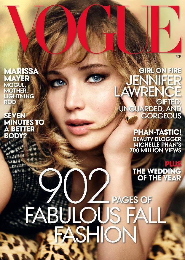 This magazine cover image shot by Mario Testino and released by Vogue shows actress Jennifer Lawrence on the cover of the September 2013 issue. The issue will hit newsstands on Aug. 20. (AP Photo/Vogue)