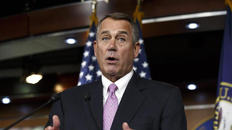 FILE - In this Feb. 6, 2014 file photo, House Speaker John Boehner of Ohio speaks during a news conference on Capitol Hill in Washington. It was once the backbone of the House Republican majority _ the steadfast stand that brought President Barack Obama to the negotiating table and yielded more than $2 trillion in deficit reduction. On Tuesday, Feb. 11, it abruptly vanished, the victim of Republican disunity and a president determined not to bargain again. (AP Photo/J. Scott Applewhite, File)