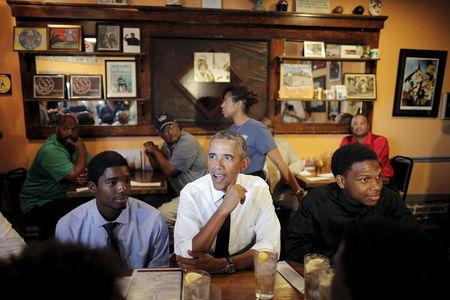 U.S. President Barack Obama sits for lunch at Willie Mae's restaurant near downtown during a presidential visit to New Orleans
