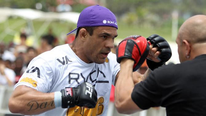 FILE -  RIO DE JANEIRO, BRAZIL - JANUARY 11: Vitor Belfort works out for the media and fans during the UFC 142 Open Workouts at Barra de Tijuca Beach on January 11, 2012 in Rio de Janeiro, Brazil. (Photo by Josh Hedges/Zuffa LLC/Zuffa LLC via Getty Images)