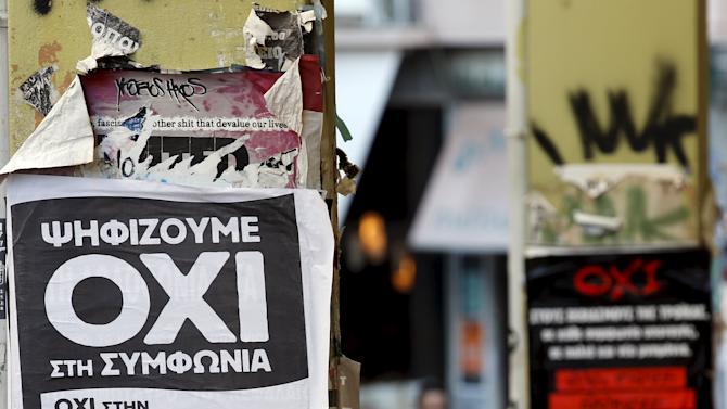 "Referendum campaign posters reading ""No"" in Greek are seen in Athens"