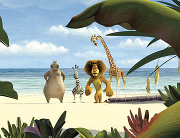 Gloria the Hippo (voice of Jada Pinkett-Smith ), Marty the Zebra (voice of Chris Rock ), Alex the Lion (voice of Ben Stiller ) and Melman the Giraffe (voice of David Schwimmer ) in Dreamworks' Madagascar