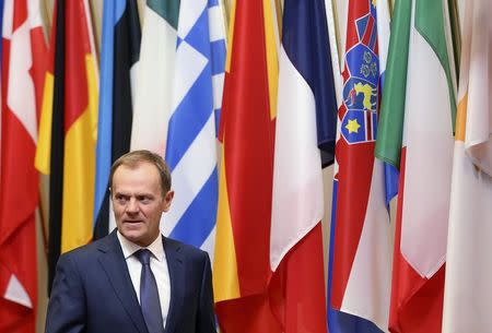 European Council President Donald Tusk waits for the arrival of Finnish President Sauli Niinisto in Brussels