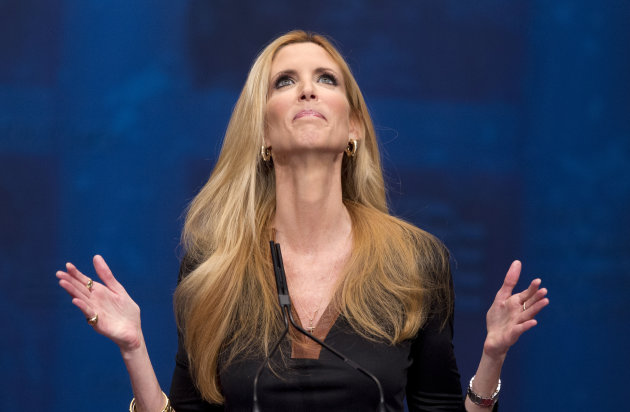 "<p> FILE - This Feb. 10, 2012 file photo shows conservative commentator Ann Coulter gesturing while speaking at the Conservative Political Action Conference (CPAC) in Washington. The Fox Nation web site has removed a column by conservative commentator Ann Coulter because it had a reference to killing the daughter of Sen. John McCain. Fox said Thursday, April 11, 2013, the column, posted Wednesday night, was deemed offensive. Coulter wrote that MSNBC's Martin Bashir suggested Republican senators need to have a member of their family killed before they would support stronger gun control legislation. She wrote: ""Let's start with Meghan McCain!"" (AP Photo/J. Scott Applewhite, file)"
