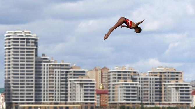 Mexico's Jimenez Trejo dives during women's 20m high dive at Aquatics World Championships in Kazan