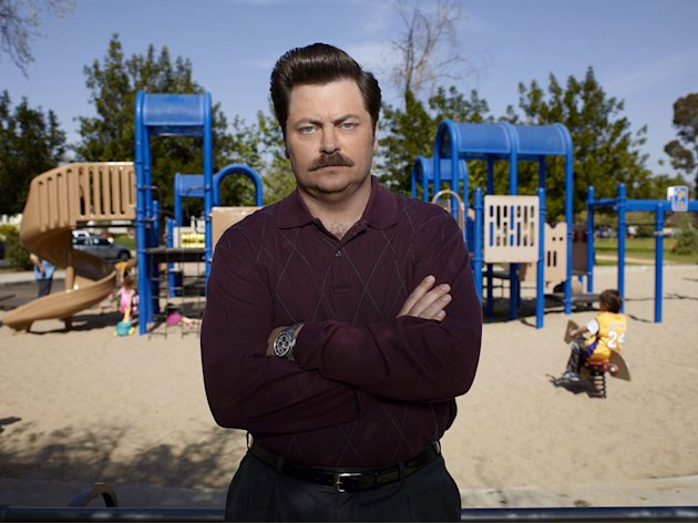 "Nick Offerman stars as Ron Swanson in ""Parks & Recreation."""