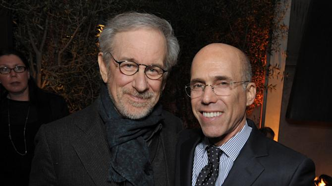 Steven Spielberg, left, and Jeffrey Katzenberg attend The Hollywood Reporter Nominees' Night at Spago on Monday, Feb. 4, 2013, in Beverly Hills, Calif. (Photo by John Shearer/Invision for The Hollywood Reporter/AP Images)