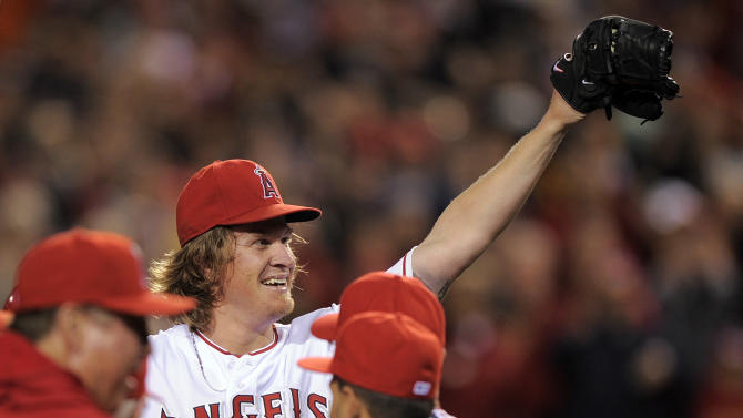 Los Angeles Angels starting pitcher Jered Weaver celebrates after pitching a a no-hitter in their baseball game against the Minnesota Twins, Wednesday, May 2, 2012, in Anaheim, Calif. The Angels won 9-0. (AP Photo/Mark J. Terrill)