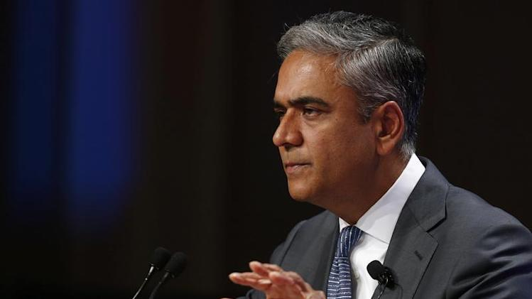 Deutsche Bank Co-chief Executive Anshu Jain delivers his speech during the annual meeting of the German business newspaper Handelsblatt in Frankfurt