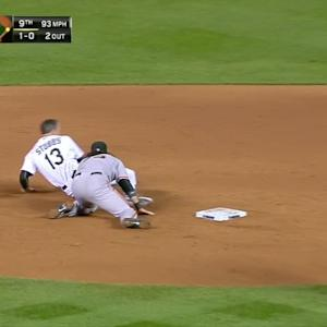Stubbs overslides second base