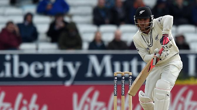 New Zealand's Brendon McCullum bats on the third day of the second cricket test match between England and New Zealand at Headingley in Leeds, England on May 31, 2015
