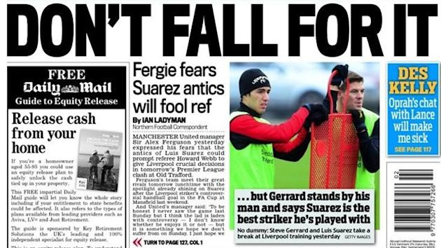 Daily Mail backpage Saturday Jan 12