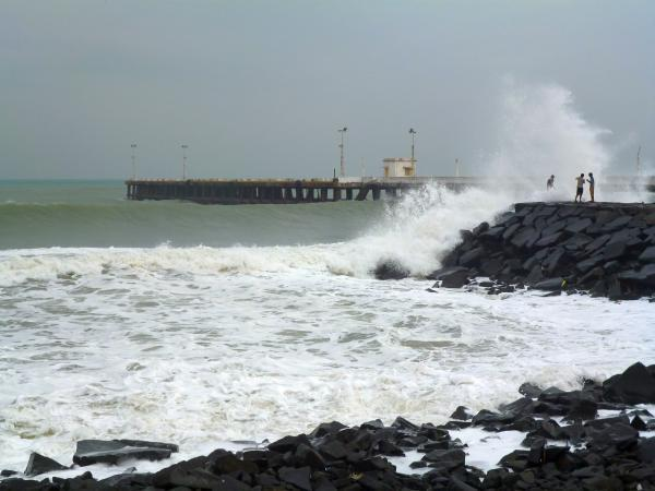 Huge waves crash into the shore at Puducherry
