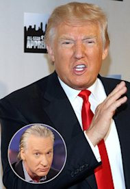 Donald J. Trump, Bill Maher | Photo Credits: Rob Kim/FilmMagic, Paul Drinkwater/NBC/Getty Images
