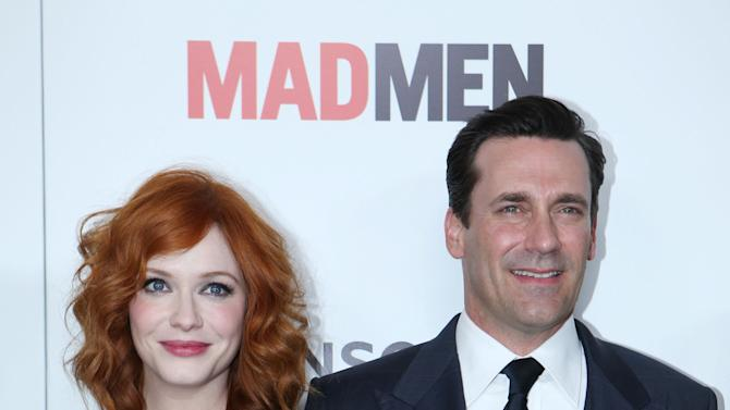 Christina Hendricks and Jon Hamm at the AMC Season 6 Premiere of Mad Men , on Wednesday, March, 20, 2013 in Los Angeles. (Photo by Alexandra Wyman/Invision for AMC/AP Images)