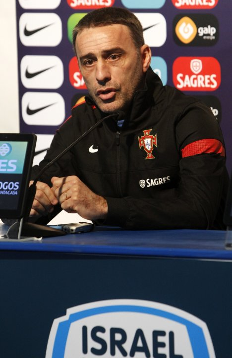 Portugal's soccer coach Bento speaks during a news conference at the Ramat Gan Stadium near Tel Aviv