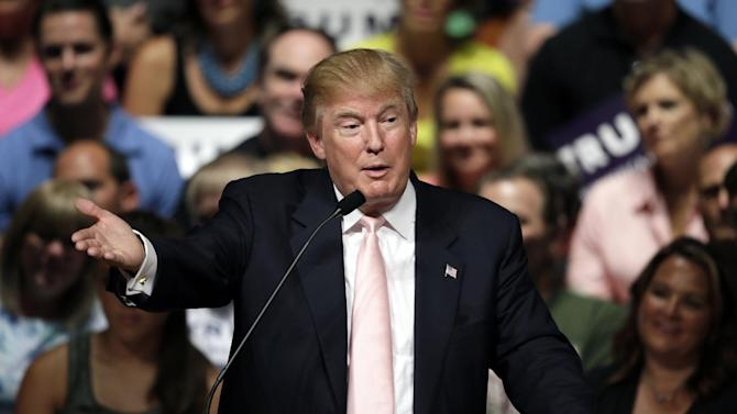 FILE - In this July 25, 2015 file photo, Republican presidential candidate Donald Trump speaks in Oskaloosa, Iowa. Trump, widely believed to the be the wealthiest American ever to run for president, is nowhere among the ranks of the country's most generous citizens, according to an Associated Press review of his financial records and other government filings. (AP Photo/Charlie Neibergall, File)