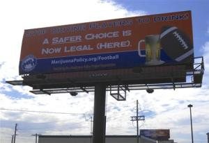 Handout of a billboard adjacent to Sports Authority Field at Mile High in Denver