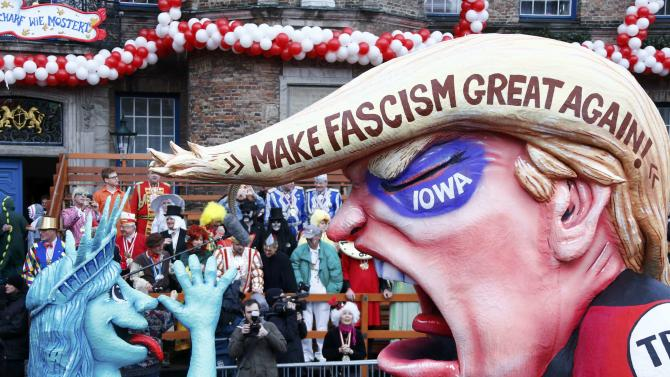 Carnival float is displayed at one location after Rosenmontag parade cancelled in Duesseldorf